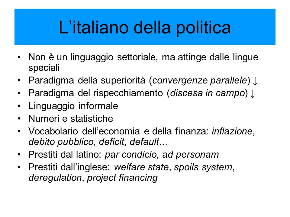 L'italiano della politica Non è un linguaggio settoriale, ma attinge dalle lingue speciali Paradigma della superiorità (convergenze parallele) ↓ Parad