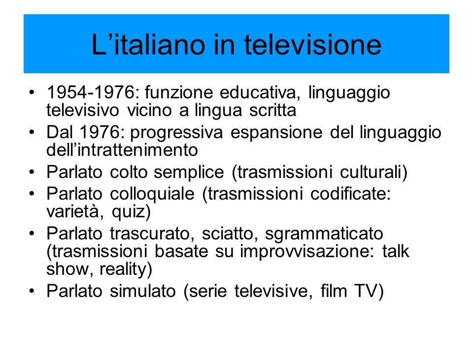 L'italiano in televisione 1954-1976: funzione educativa, linguaggio televisivo vicino a lingua scritta Dal 1976: progressiva espansione del linguaggio