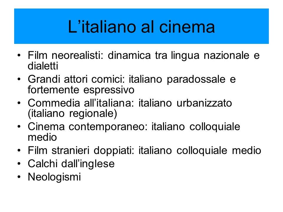 L'italiano al cinema Film neorealisti: dinamica tra lingua nazionale e dialetti Grandi attori comici: italiano paradossale e fortemente espressivo Com