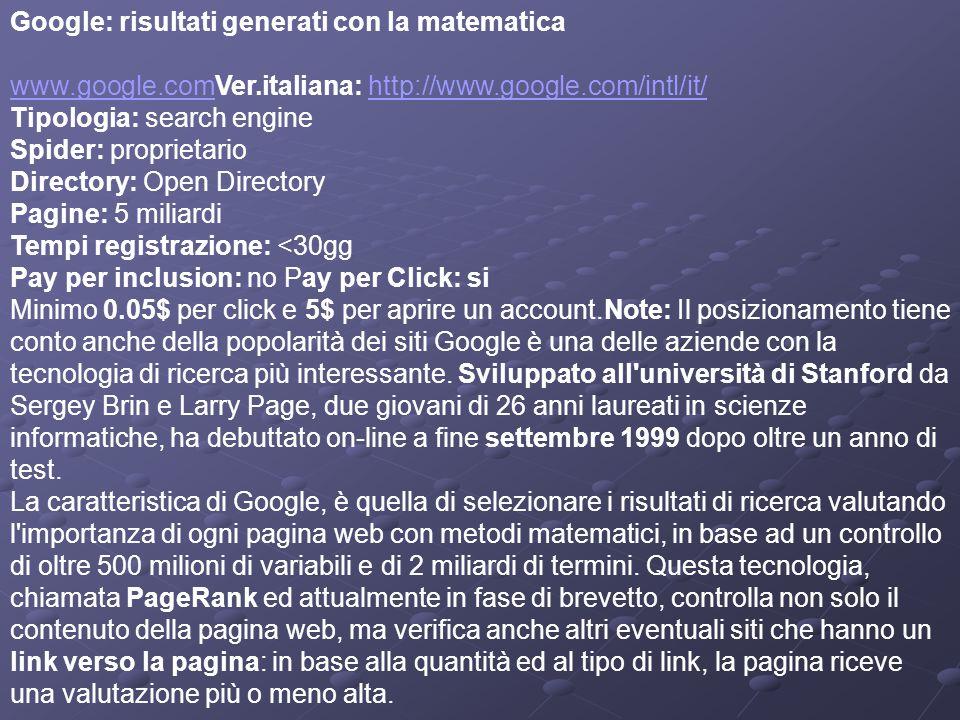 Mappa dei motori e delle directory (e di alcuni portali) - Febbraio 2005 Google: risultati generati con la matematica www.google.comVer.italiana: http