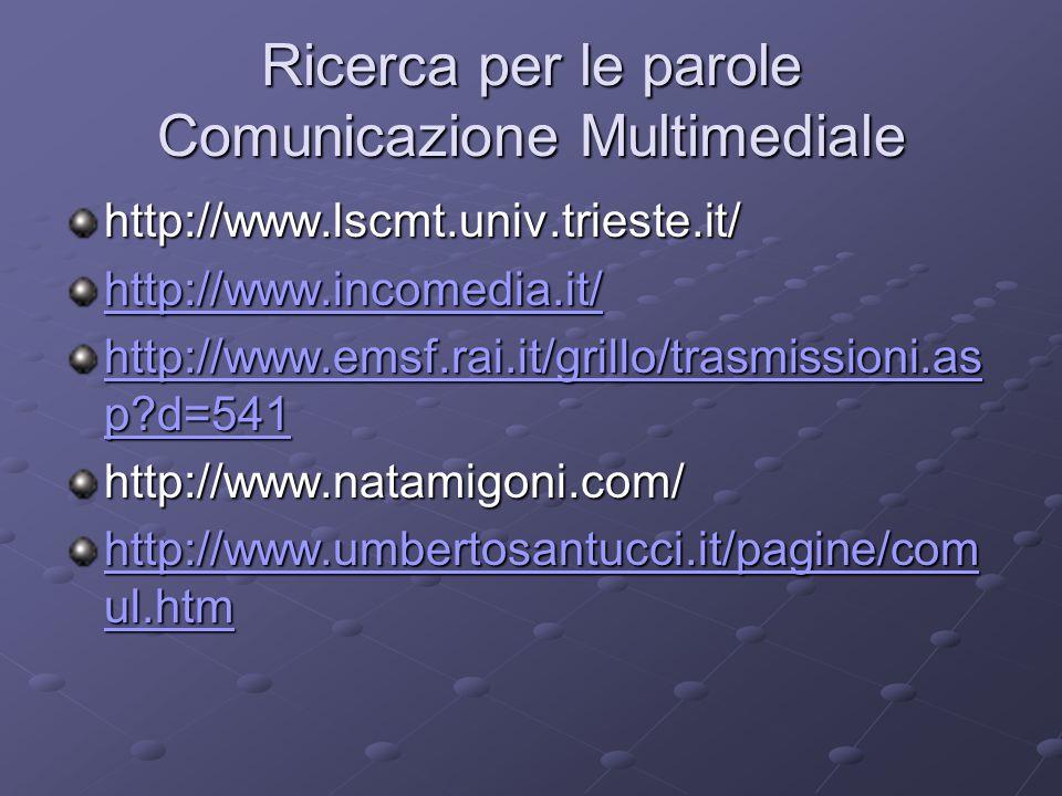Ricerca per le parole Comunicazione Multimediale http://www.lscmt.univ.trieste.it/ http://www.incomedia.it/ http://www.emsf.rai.it/grillo/trasmissioni.as p d=541 http://www.emsf.rai.it/grillo/trasmissioni.as p d=541http://www.natamigoni.com/ http://www.umbertosantucci.it/pagine/com ul.htm http://www.umbertosantucci.it/pagine/com ul.htm
