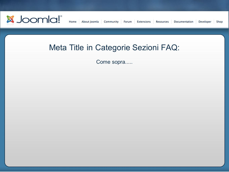 Meta Title in Categorie Sezioni FAQ: Come sopra.....