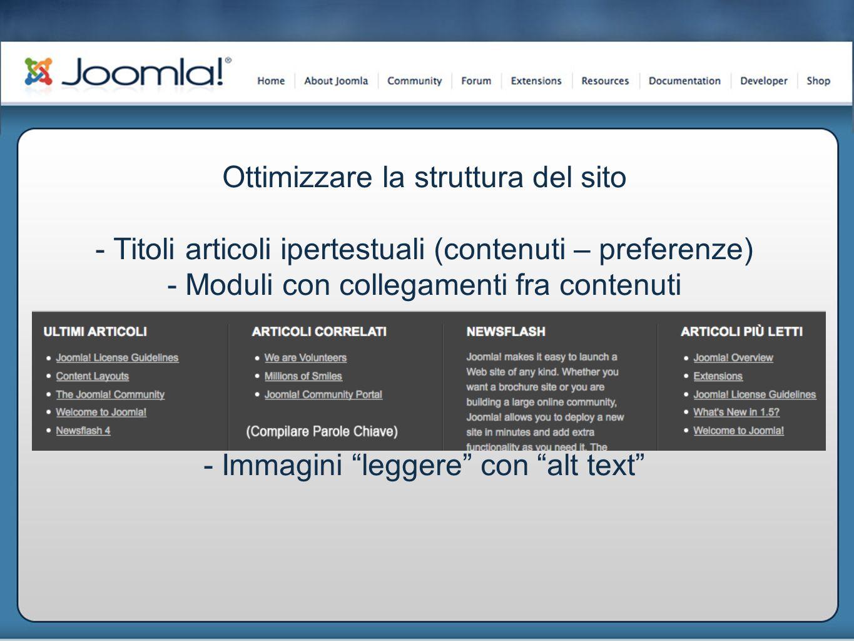 Ottimizzare la struttura del sito - Titoli articoli ipertestuali (contenuti – preferenze) - Moduli con collegamenti fra contenuti - Immagini leggere con alt text