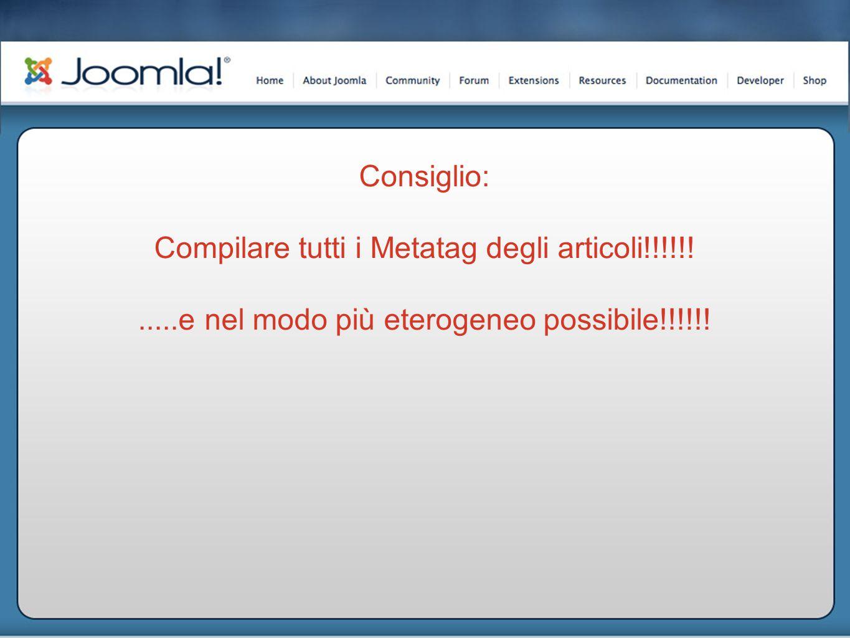 Consiglio: Compilare tutti i Metatag degli articoli!!!!!!.....e nel modo più eterogeneo possibile!!!!!!