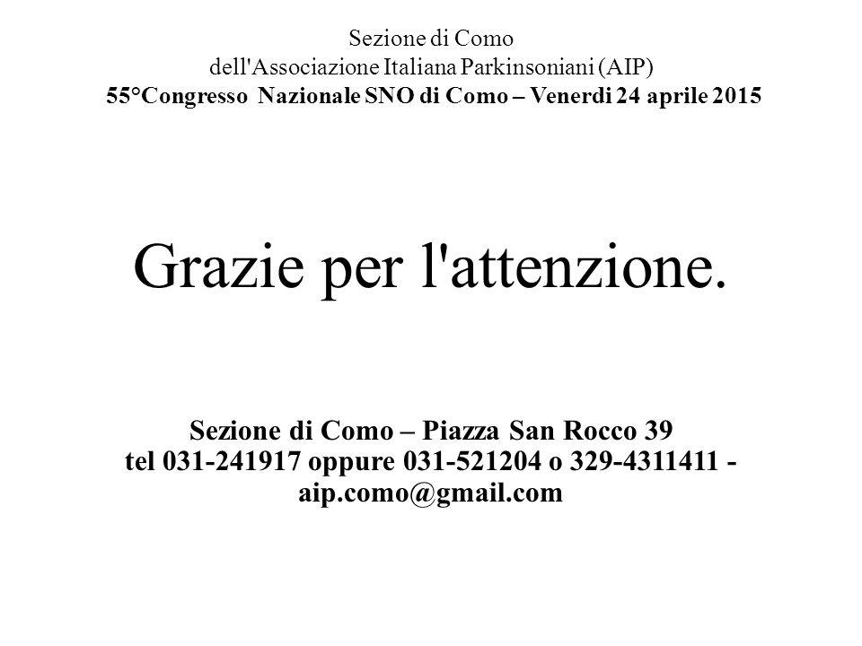 Sezione di Como dell'Associazione Italiana Parkinsoniani (AIP) 55°Congresso Nazionale SNO di Como – Venerdi 24 aprile 2015 Grazie per l'attenzione. Se