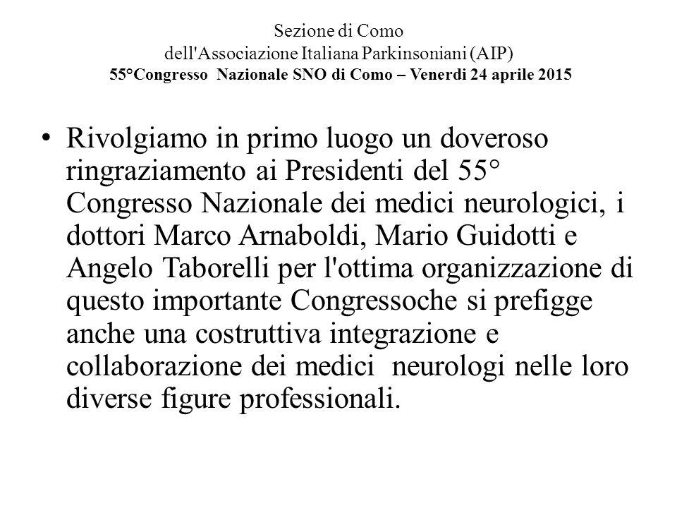 Sezione di Como dell'Associazione Italiana Parkinsoniani (AIP) 55°Congresso Nazionale SNO di Como – Venerdi 24 aprile 2015 Rivolgiamo in primo luogo u