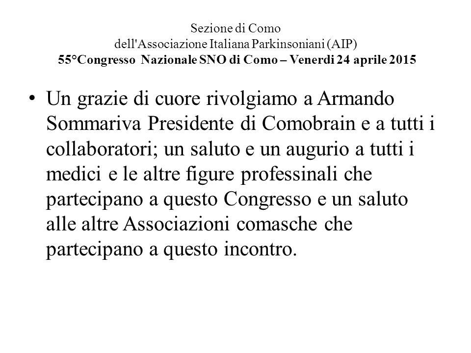 Sezione di Como dell'Associazione Italiana Parkinsoniani (AIP) 55°Congresso Nazionale SNO di Como – Venerdi 24 aprile 2015 Un grazie di cuore rivolgia