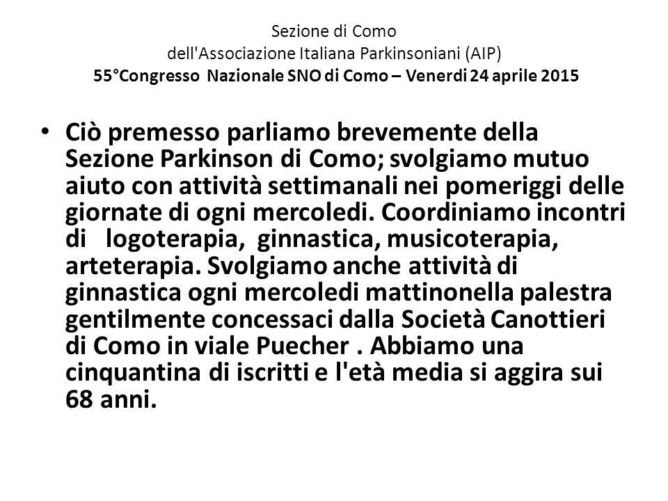Sezione di Como dell'Associazione Italiana Parkinsoniani (AIP) 55°Congresso Nazionale SNO di Como – Venerdi 24 aprile 2015 Ciò premesso parliamo breve