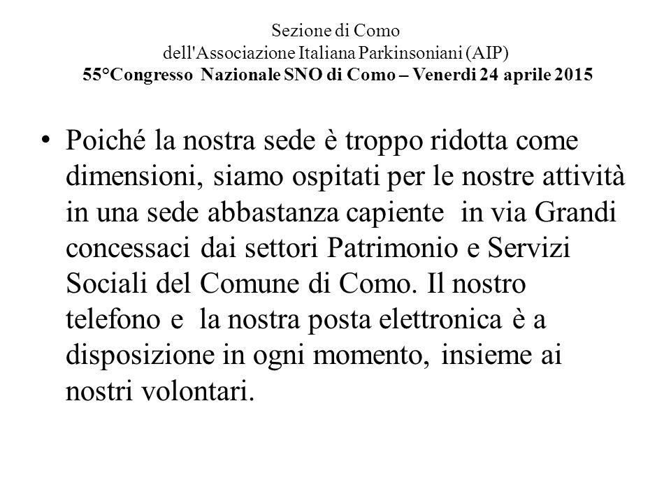 Sezione di Como dell'Associazione Italiana Parkinsoniani (AIP) 55°Congresso Nazionale SNO di Como – Venerdi 24 aprile 2015 Poiché la nostra sede è tro