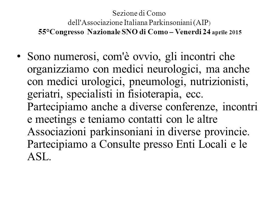 Sezione di Como dell'Associazione Italiana Parkinsoniani (AIP ) 55°Congresso Nazionale SNO di Como – Venerdi 24 aprile 2015 Sono numerosi, com'è ovvio