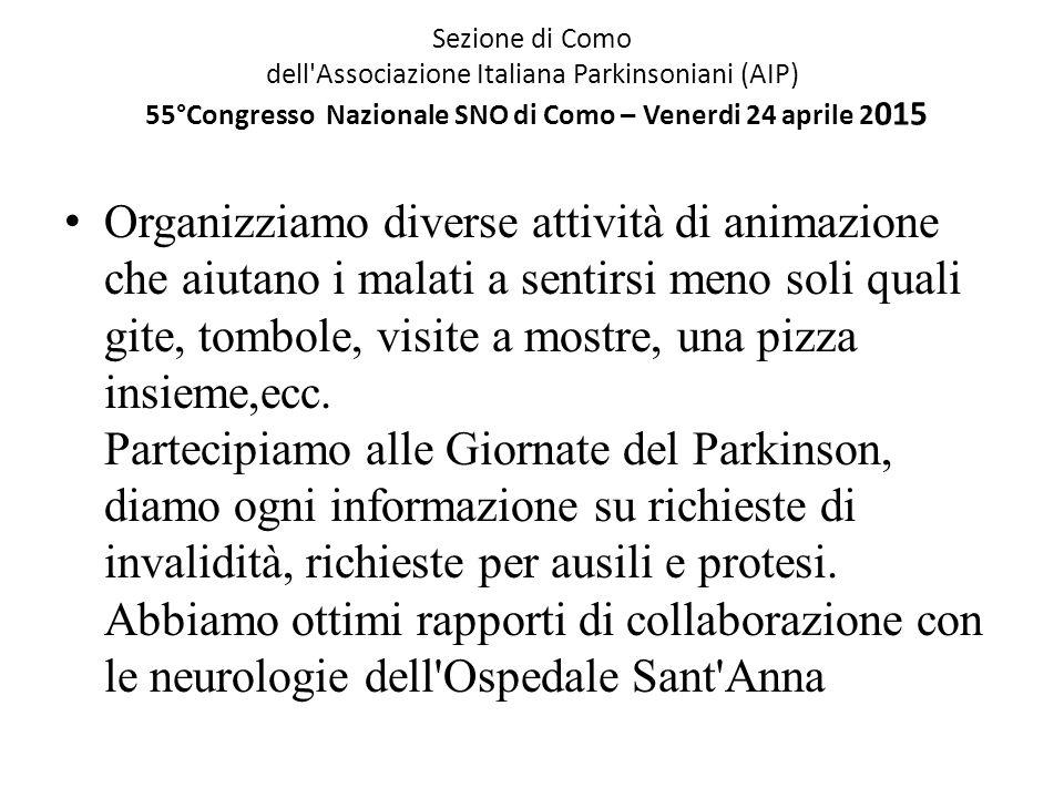 Sezione di Como dell'Associazione Italiana Parkinsoniani (AIP) 55°Congresso Nazionale SNO di Como – Venerdi 24 aprile 2 015 Organizziamo diverse attiv