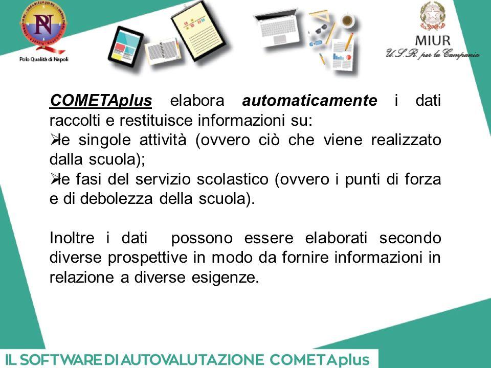 COMETAplus elabora automaticamente i dati raccolti e restituisce informazioni su:  le singole attività (ovvero ciò che viene realizzato dalla scuola);  le fasi del servizio scolastico (ovvero i punti di forza e di debolezza della scuola).