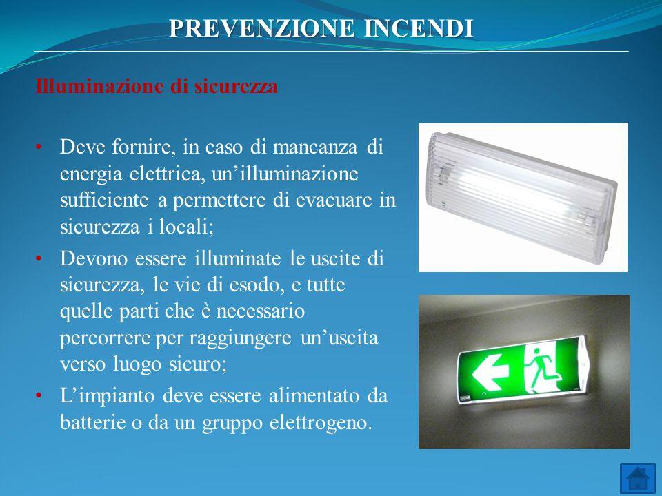Illuminazione di sicurezza Deve fornire, in caso di mancanza di energia elettrica, un'illuminazione sufficiente a permettere di evacuare in sicurezza
