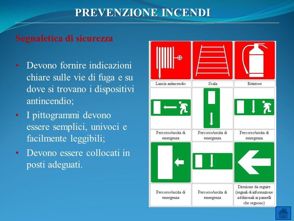 Segnaletica di sicurezza Devono fornire indicazioni chiare sulle vie di fuga e su dove si trovano i dispositivi antincendio; I pittogrammi devono esse