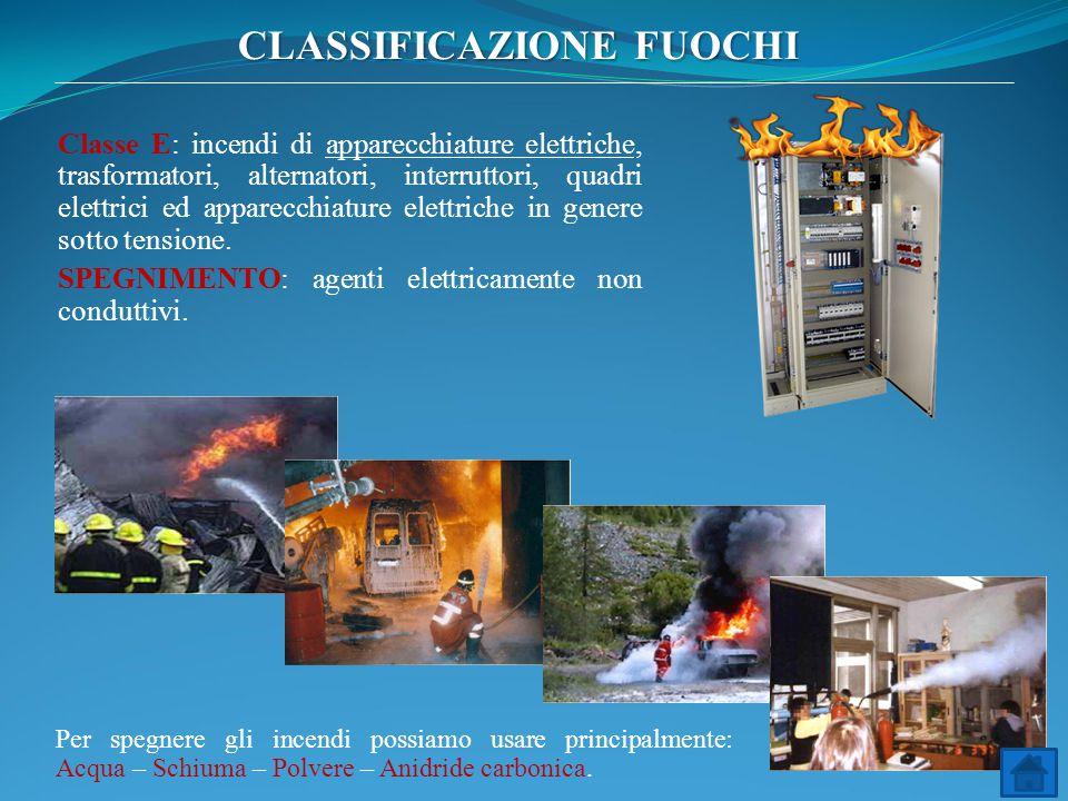 Classe E: incendi di apparecchiature elettriche, trasformatori, alternatori, interruttori, quadri elettrici ed apparecchiature elettriche in genere so