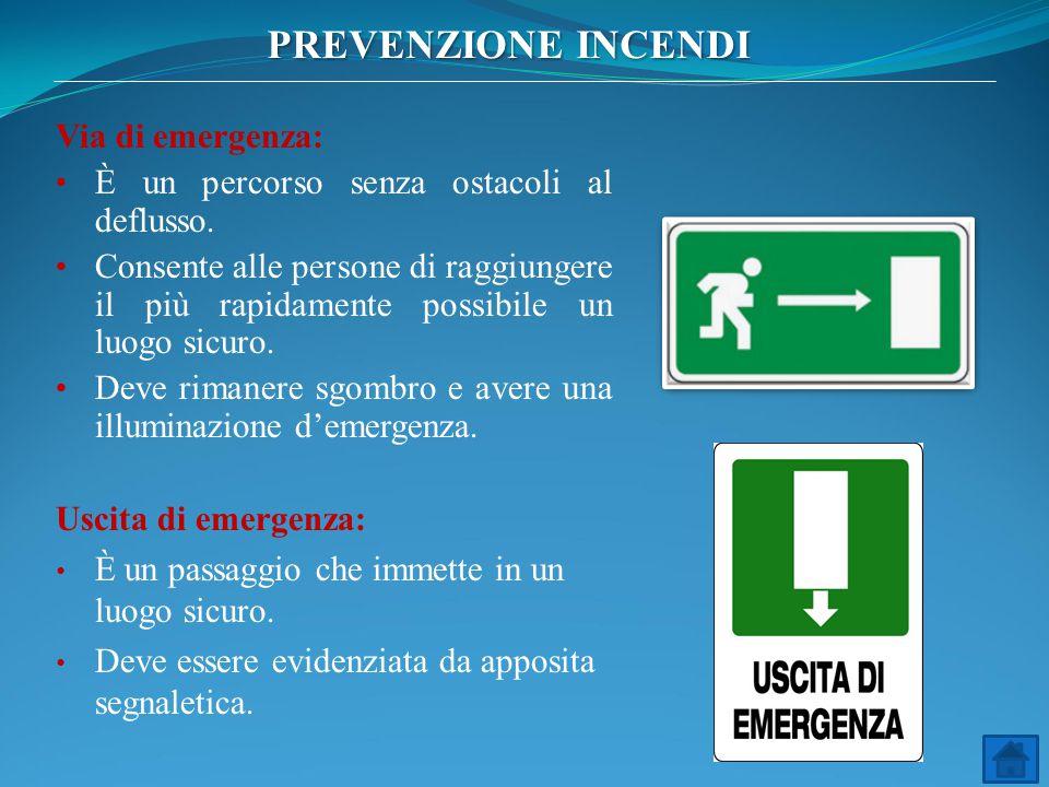 Via di emergenza: È un percorso senza ostacoli al deflusso. Consente alle persone di raggiungere il più rapidamente possibile un luogo sicuro. Deve ri