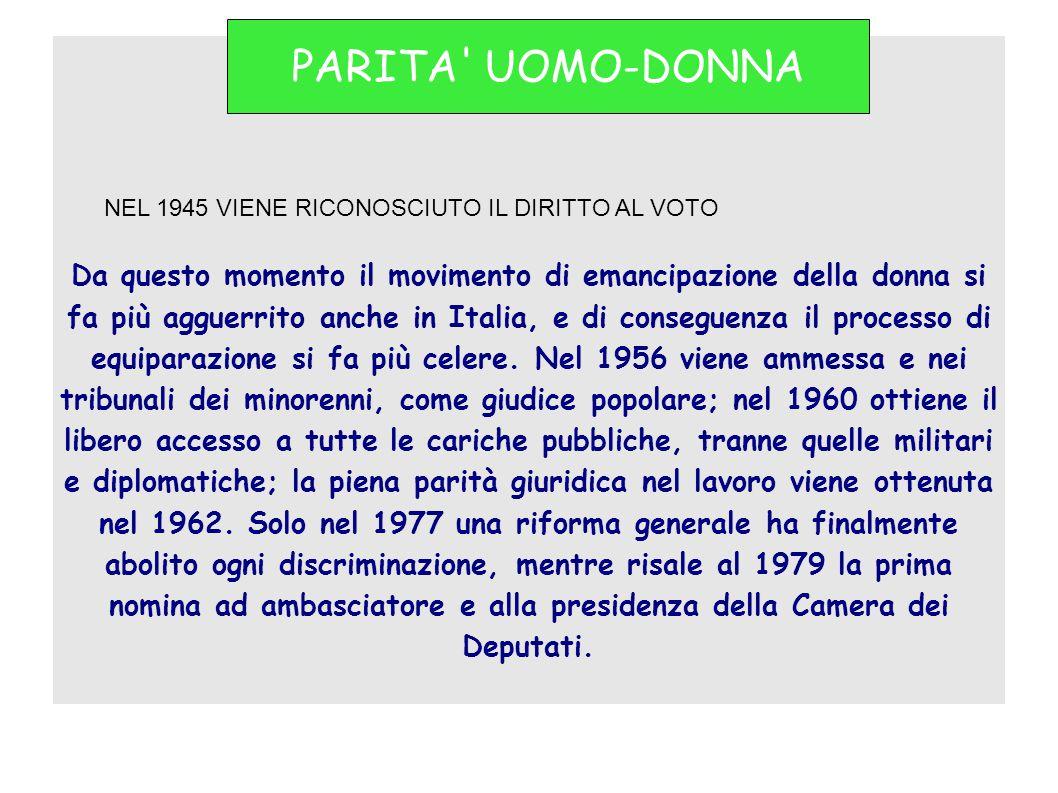 Da questo momento il movimento di emancipazione della donna si fa più agguerrito anche in Italia, e di conseguenza il processo di equiparazione si fa