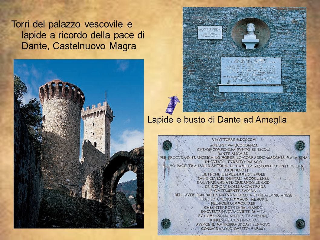 Lapide e busto di Dante ad Ameglia Torri del palazzo vescovile e lapide a ricordo della pace di Dante, Castelnuovo Magra
