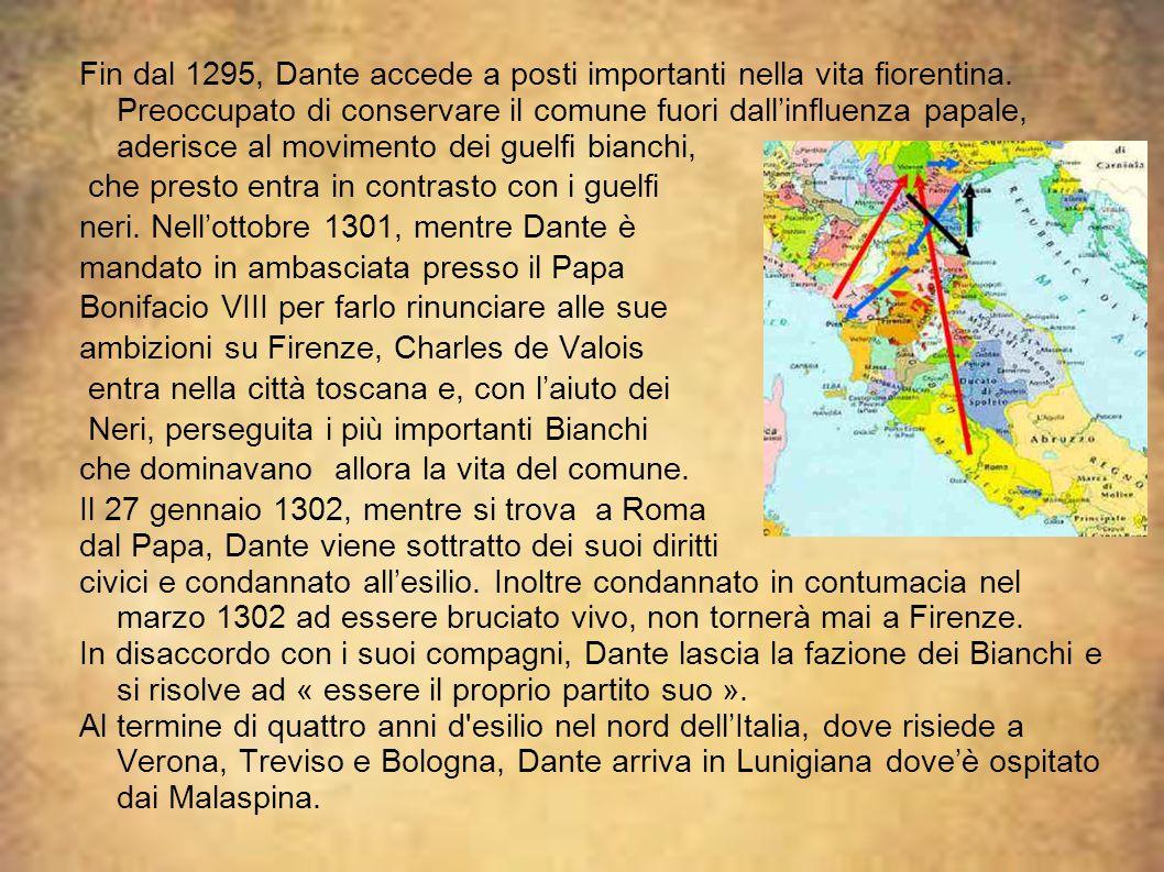 Fin dal 1295, Dante accede a posti importanti nella vita fiorentina. Preoccupato di conservare il comune fuori dall'influenza papale, aderisce al movi