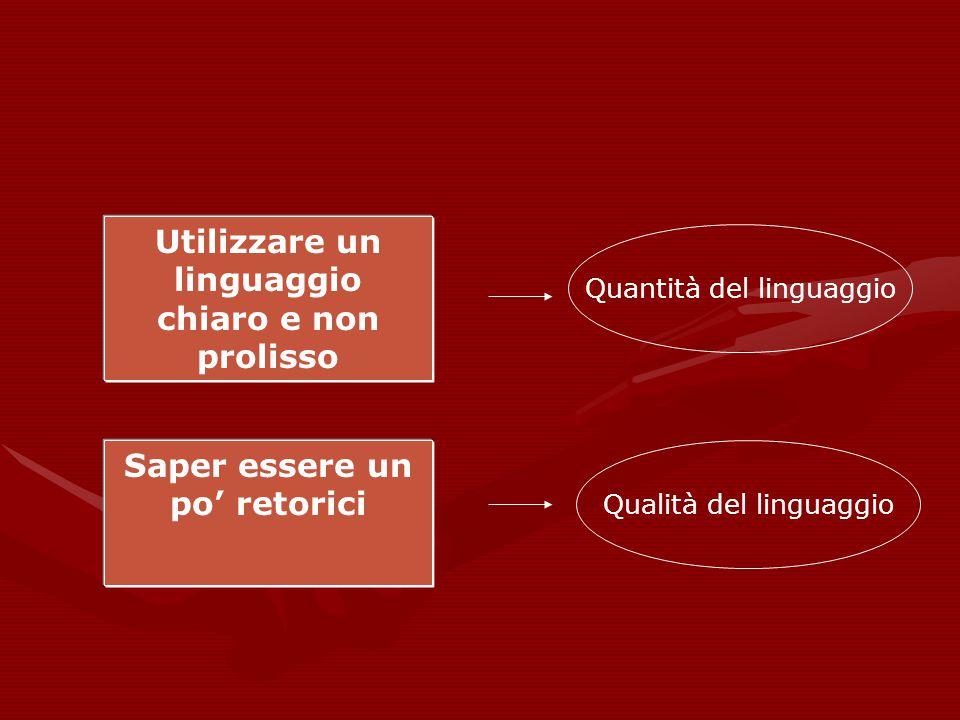 Utilizzare un linguaggio chiaro e non prolisso Quantità del linguaggio Saper essere un po' retorici Qualità del linguaggio