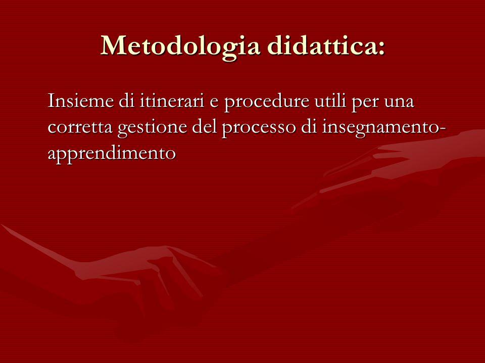 Metodologia didattica: Insieme di itinerari e procedure utili per una corretta gestione del processo di insegnamento- apprendimento