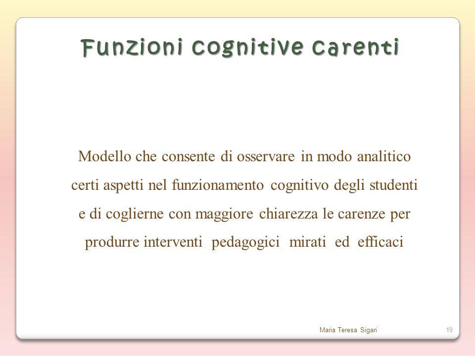 Maria Teresa Sigari19 Funzioni cognitive carenti Modello che consente di osservare in modo analitico certi aspetti nel funzionamento cognitivo degli studenti e di coglierne con maggiore chiarezza le carenze per produrre interventi pedagogici mirati ed efficaci
