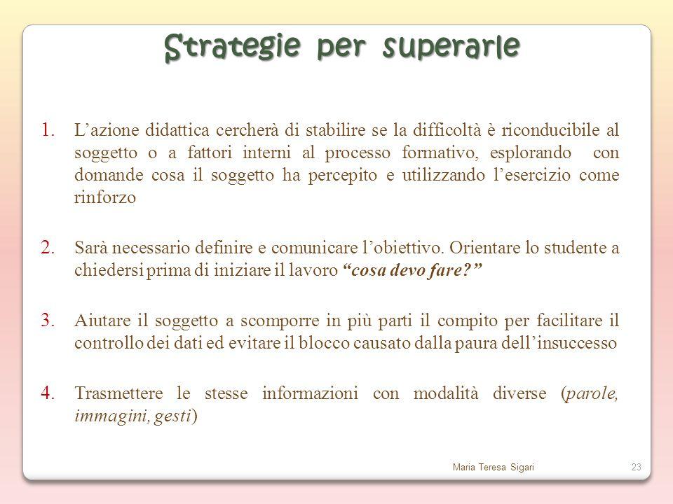 Maria Teresa Sigari23 Strategie per superarle 1.