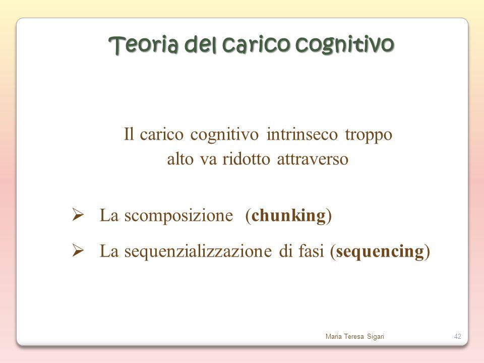Maria Teresa Sigari42 Il carico cognitivo intrinseco troppo alto va ridotto attraverso  La scomposizione (chunking)  La sequenzializzazione di fasi (sequencing) Teoria del carico cognitivo