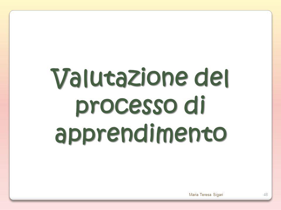 Maria Teresa Sigari48 Valutazione del processo di apprendimento