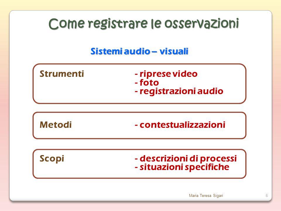 Maria Teresa Sigari6 Sistemi audio – visuali Strumenti- riprese video - foto - registrazioni audio Metodi- contestualizzazioni Scopi- descrizioni di processi - situazioni specifiche Come registrare le osservazioni