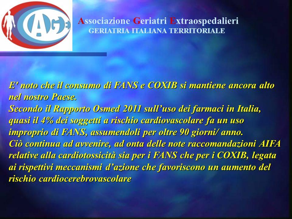 E' noto che il consumo di FANS e COXIB si mantiene ancora alto nel nostro Paese. Secondo il Rapporto Osmed 2011 sull'uso dei farmaci in Italia, quasi