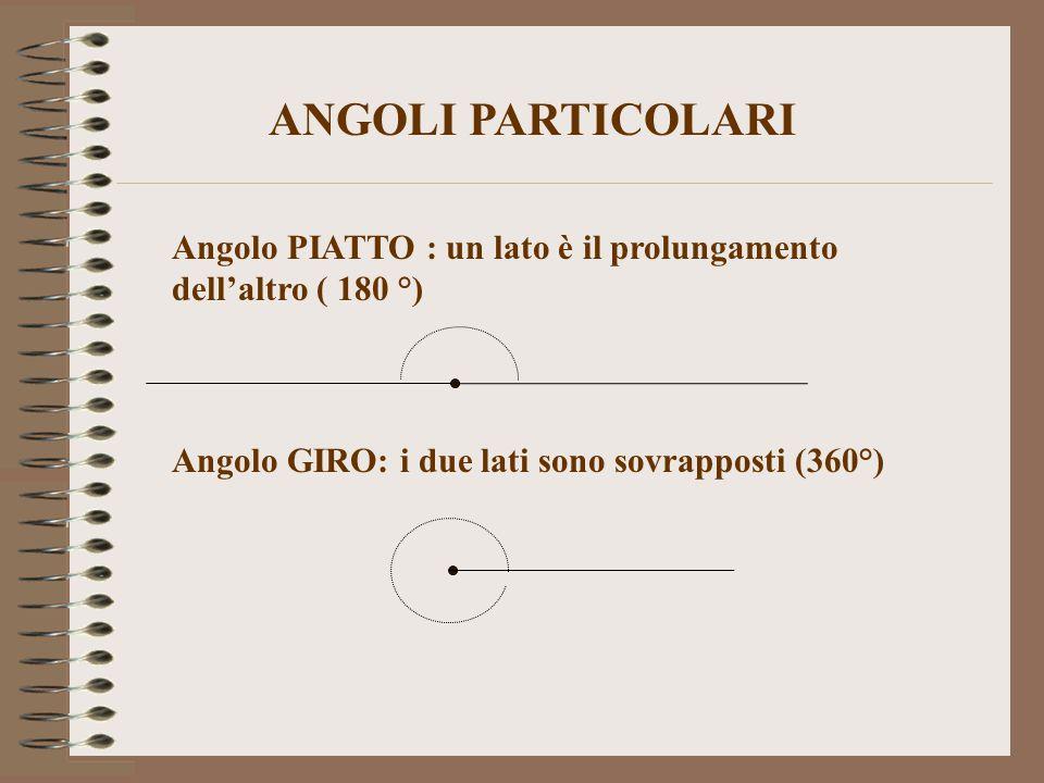 Angolo PIATTO : un lato è il prolungamento dell'altro ( 180 °) Angolo GIRO: i due lati sono sovrapposti (360°) ANGOLI PARTICOLARI