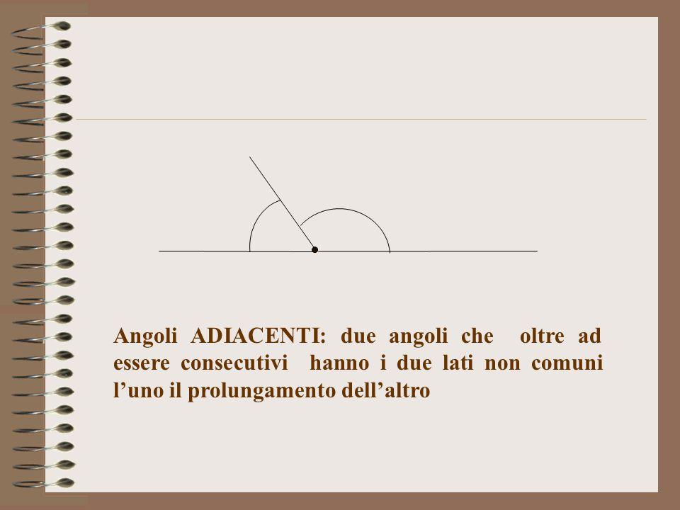 Angoli ADIACENTI: due angoli che oltre ad essere consecutivi hanno i due lati non comuni l'uno il prolungamento dell'altro