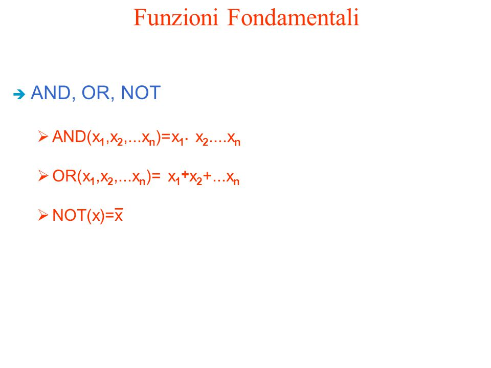 Funzioni Fondamentali è AND, OR, NOT  AND(x 1,x 2,...x n )=x 1. x 2....x n  OR(x 1,x 2,...x n )= x 1 + x 2 +...x n  NOT(x)=x