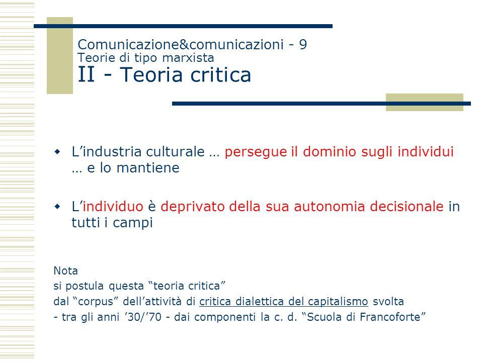 Comunicazione&comunicazioni - 9 Teorie di tipo marxista II - Teoria critica  L'industria culturale … persegue il dominio sugli individui … e lo manti