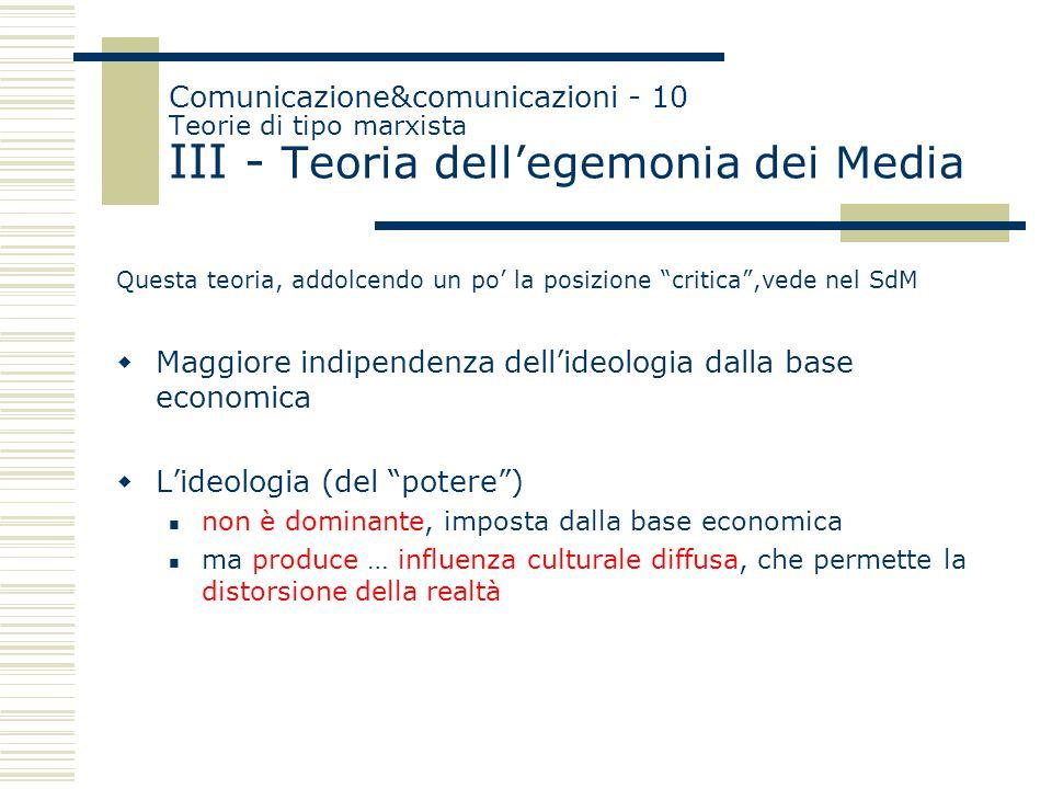 """Comunicazione&comunicazioni - 10 Teorie di tipo marxista III - Teoria dell'egemonia dei Media Questa teoria, addolcendo un po' la posizione """"critica"""","""