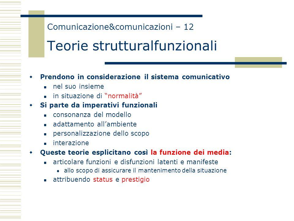 """Comunicazione&comunicazioni – 12 Teorie strutturalfunzionali  Prendono in considerazione il sistema comunicativo nel suo insieme in situazione di """"no"""