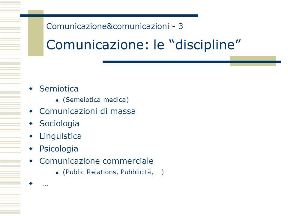 Comunicazione&comunicazioni - 3 Comunicazione: le discipline  Semiotica (Semeiotica medica)  Comunicazioni di massa  Sociologia  Linguistica  Psicologia  Comunicazione commerciale (Public Relations, Pubblicità, …)  …