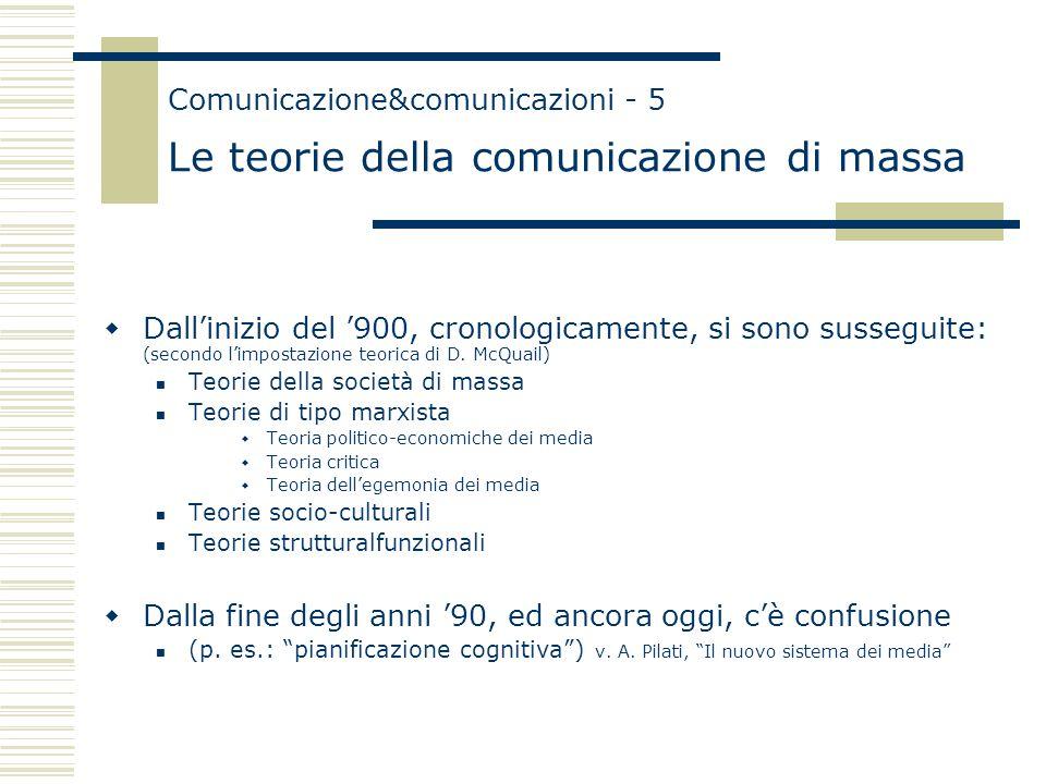 Comunicazione&comunicazioni - 5 Le teorie della comunicazione di massa  Dall'inizio del '900, cronologicamente, si sono susseguite: (secondo l'impostazione teorica di D.
