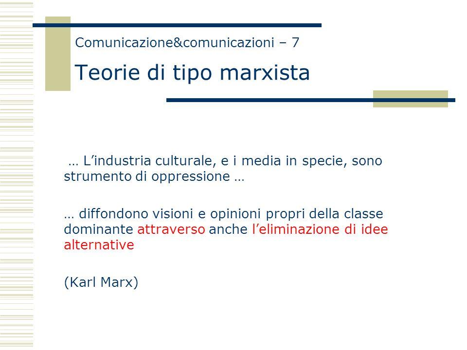 Comunicazione&comunicazioni – 7 Teorie di tipo marxista … L'industria culturale, e i media in specie, sono strumento di oppressione … … diffondono visioni e opinioni propri della classe dominante attraverso anche l'eliminazione di idee alternative (Karl Marx)