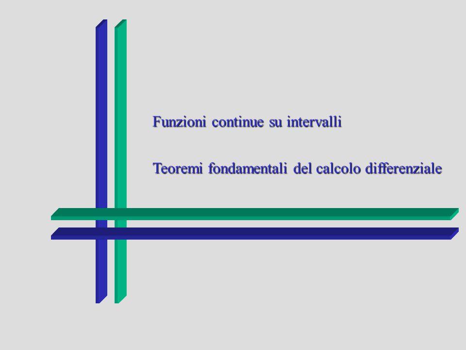Funzioni continue su intervalli Teoremi fondamentali del calcolo differenziale