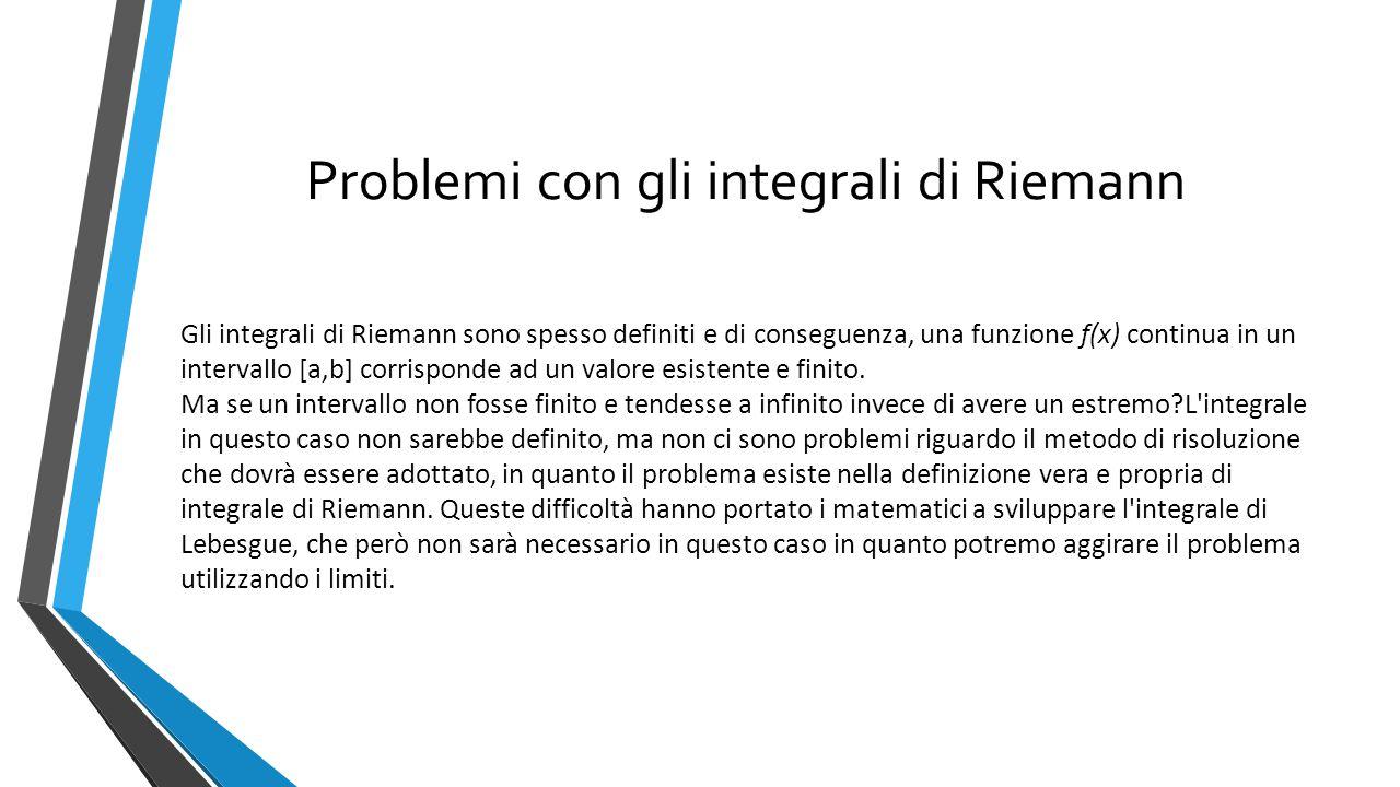 Problemi con gli integrali di Riemann Gli integrali di Riemann sono spesso definiti e di conseguenza, una funzione f(x) continua in un intervallo [a,b] corrisponde ad un valore esistente e finito.