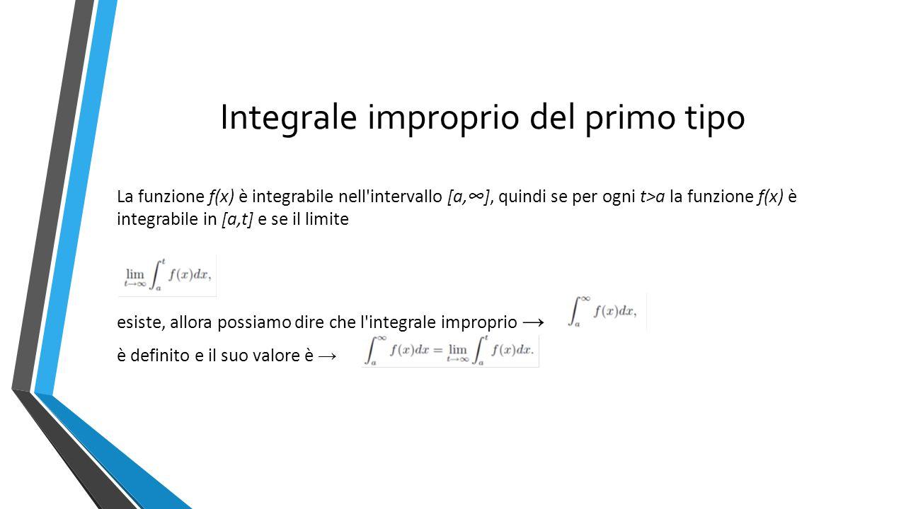 Integrale improprio del primo tipo La funzione f(x) è integrabile nell intervallo [a,∞], quindi se per ogni t>a la funzione f(x) è integrabile in [a,t] e se il limite esiste, allora possiamo dire che l integrale improprio → è definito e il suo valore è →