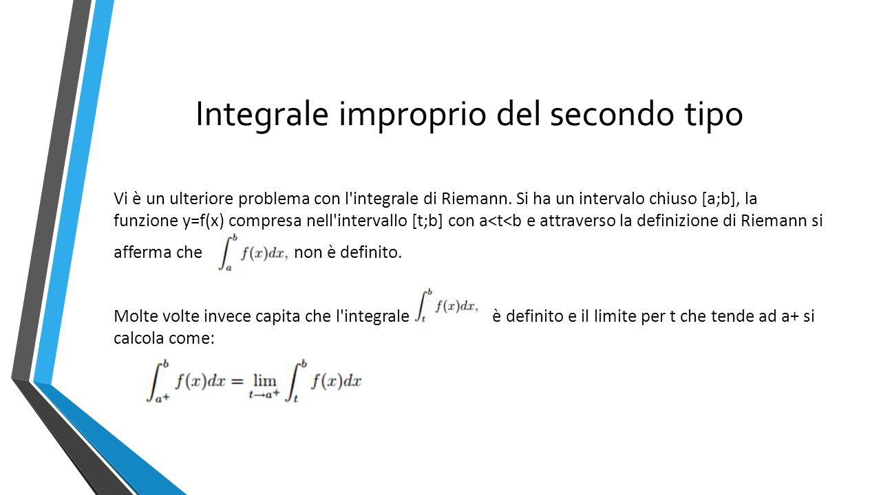 Lo stesso ragionamento lo si può effettuare con t che tende a b- cioè: l integrale esiste ed è di valore