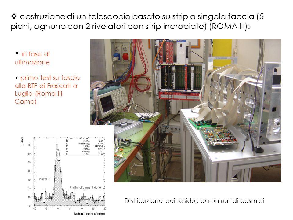  costruzione di un telescopio basato su strip a singola faccia (5 piani, ognuno con 2 rivelatori con strip incrociate) (ROMA III): Distribuzione dei residui, da un run di cosmici in fase di ultimazione primo test su fascio alla BTF di Frascati a Luglio (Roma III, Como)