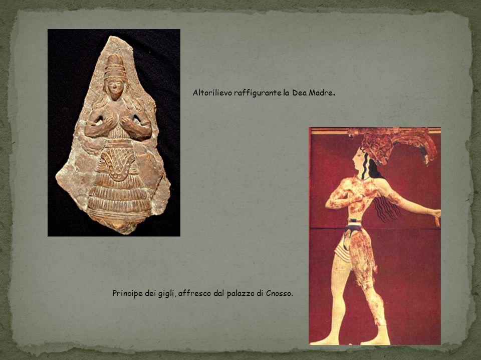 Altorilievo raffigurante la Dea Madre. Principe dei gigli, affresco dal palazzo di Cnosso.
