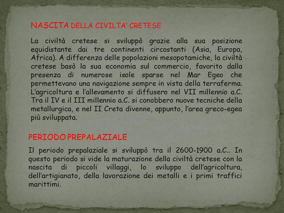 PERIODO PROTOPALAZIALE Il periodo protopalaziale si sviluppò tra il 1900-1700 a.C..