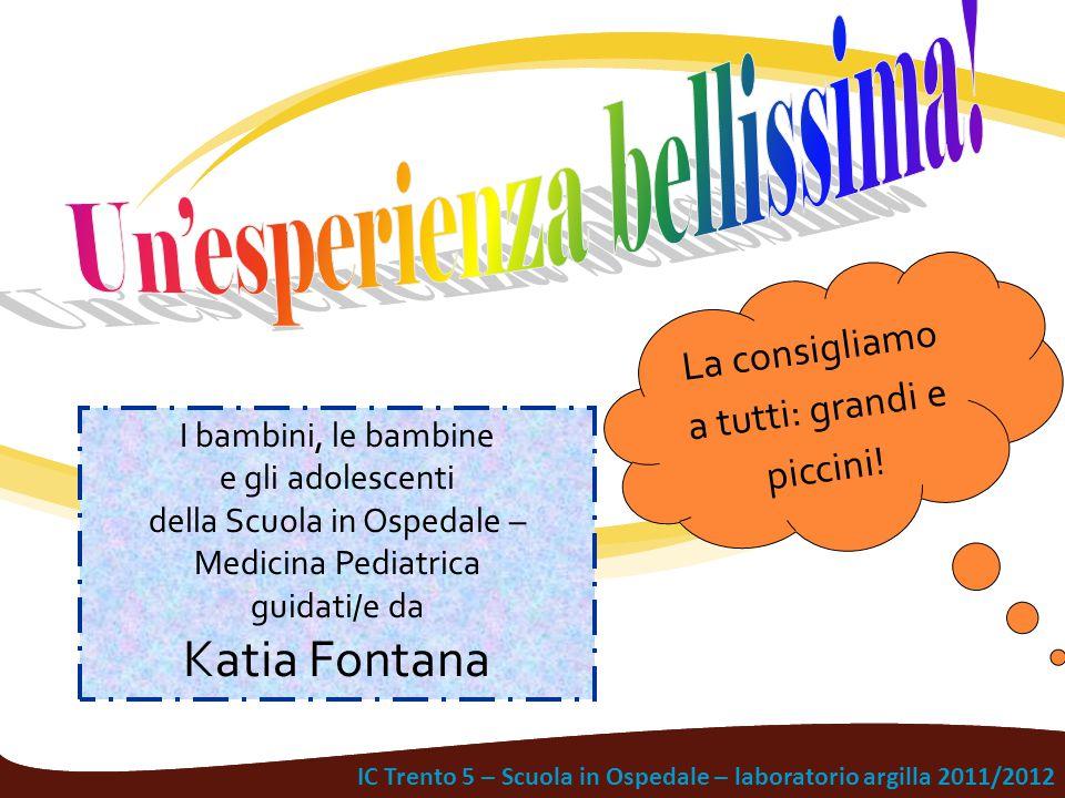 IC Trento 5 – Scuola in Ospedale – laboratorio argilla 2011/2012 La consigliamo a tutti: grandi e piccini! I bambini, le bambine e gli adolescenti del