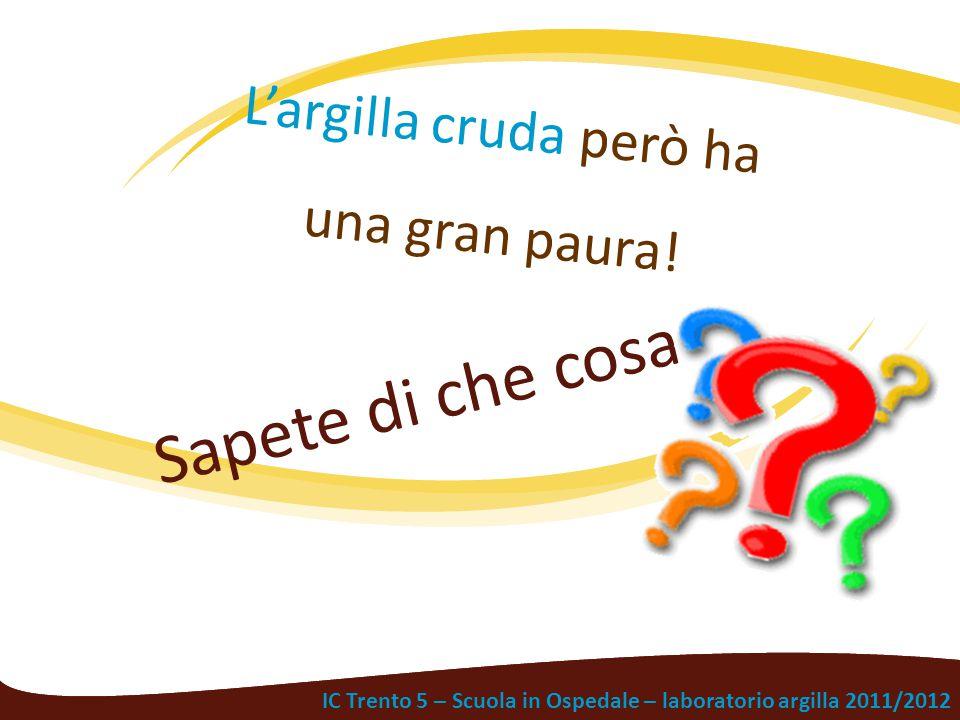IC Trento 5 – Scuola in Ospedale – laboratorio argilla 2011/2012 Sapete di che cosa L'argilla cruda però ha una gran paura!
