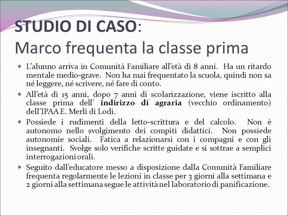 STUDIO DI CASO: Marco frequenta la classe prima L'alunno arriva in Comunità Familiare all'età di 8 anni. Ha un ritardo mentale medio-grave. Non ha mai